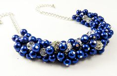 Navy Blue Pearl Beaded Chunky Cluster Necklace, Beaded Pearl Necklace, Cluster Necklace, Bridesmaid Pearl Navy Blue Necklace, Navy Jewelry