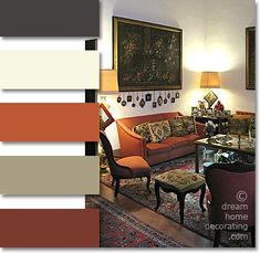 Palazzo living room in rust, terra cotta and ecru colors, Volterra, Tuscany, Italy