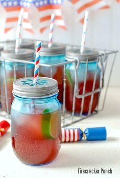 Firecracker Punch recipe is made with fruity juices, ginger ale & a surprising bang for Fourth of July! Non-alcoholic punch & alcoholic punch recipes included. Alcoholic Punch Recipes, Easy Punch Recipes, Non Alcoholic Drinks, Drink Recipes, Free Recipes, Cocktails For Parties, Summer Drinks, Cocktail Drinks, Fancy Drinks
