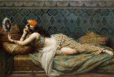 The Odalisque, 1913 | Adrien Henri Tanoux. Que je suis belle!