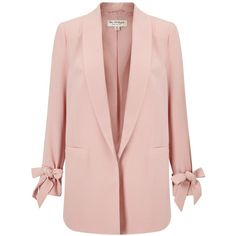 Miss Selfridge Bow Sleeve Blazer (85 BRL) ❤ liked on Polyvore featuring outerwear, jackets, blazers, long sleeve jacket, blazer jacket, shawl collar jacket, pink jacket and short-sleeve blazers