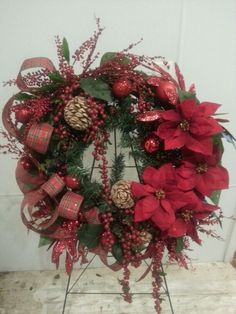Red Poinsettia Wreath By Tulippetalproduction I Love Red
