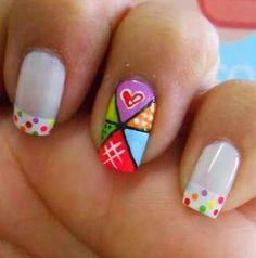 imagenes de uñas decoradas con puntos de colores - Buscar con Google