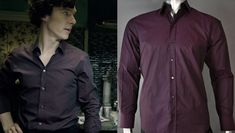 Details of the shirts Sherlock Holmes wears in BBC Sherlock. Sherlock Shirt, Sherlock Bbc, Sherlock Inspired Outfits, Purple Dress Shirt, Shirt Dress, Sherlock Cosplay, Dressed To Kill, Halloween Cosplay, Cool Outfits