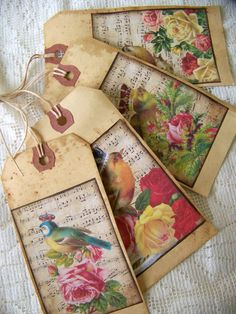 Set of 4 different grunged gift tags, measuring 2 1/2 inches by 4 1/2 inches, with hang tag which has also been distressed and grunged. They would make