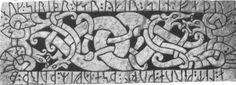 Dragons intertwined on RuneStone 8th century CE. Lindkoeping, Sweden   http://www.odinsvolk.ca/dragon.htm