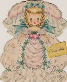 1947 Hallmark from The Land of Make Believe 6 Paper Doll Cards Cinderella Mary | eBay