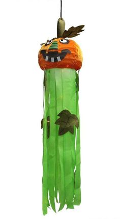 "46"""" LED Lighted Orange Jack-O-Lantern Pumpkin Hanging Halloween Decoration"