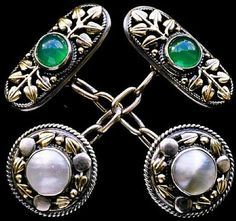 Artificers' Guild, Fine Arts & Crafts Cufflinks. English, circa 1905, silver, gold, pearl and chalcedony