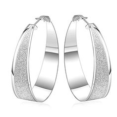 YamaziHD Glamorous Silver Plated Brass Frosted Big Hoop Earring Exquisite Fashion >>> Want to know more, click on the image. (This is an affiliate link) #WomenEarrings