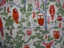 Christmas owls on White Fat Quarter
