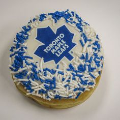 Tim Hortons salutes to the Toronto Maple Leafs with a cream filled blue and white donut Toronto Maple Leafs Wallpaper, Toronto Maple Leafs Logo, Wallpaper Toronto, Shawn Mendes Toronto, Canadian Things, Tyler Seguin, Tim Hortons, Patrick Kane, Vancouver Canucks