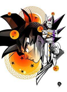 Goku and Lord Beerus Dragon Ball Gt, Dragon Z, Bd Comics, Anime Comics, Z Arts, Animes Wallpapers, Fanart, Anime Shows, Akira