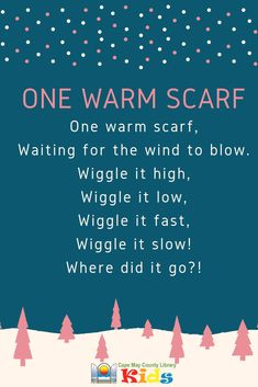 One of our new favorite scarf rhymes! Perfect for winter, snow, and holiday themes! #CMCLKids #Storytime #EarlyLiteracy #Library #Fingerplay #Programming #Rhymes #ActionRhyme #LibraryProgram #KidsEvents #KidsSongs #ChildrensMusic #LibraryLife Preschool Music Activities, Kindergarten Songs, Preschool Class, Preschool Winter, Winter Activities, Preschool Ideas, Music Education, Childhood Education, Daycare Themes