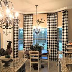 Kitchen Decorating Black and White Buffalo Check Curtains - 24 Width and 50 Width Options -Rod Pocket - Options For Cotton or Blackout Lining Farmhouse Kitchen Curtains, Kitchen Redo, Curtains In Kitchen, Kitchen Cabinets, Kitchen Tables, Farm House Kitchen Ideas, Kitchen Worktops, Farmhouse Windows, Kitchen Black