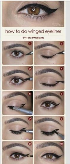 Winged eyeliner - love this!  I wondered how they did it?