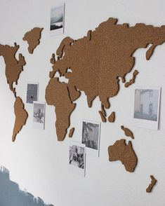 Wereldkaart in kurk. Worldmap in cork Vintage Travel Themes, Bedroom Decor, Wall Decor, Diy Interior, My Room, Room Inspiration, Diy And Crafts, Design, Home Decor
