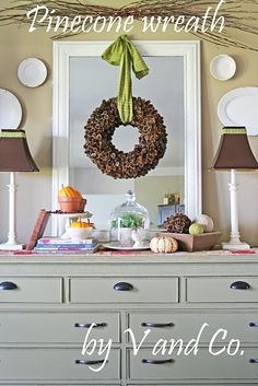 Pinecone Wreath. This totally makes me want to whip a bunch of these out for Christmas. They are beautiful. And using the Tubing trick they could be really expensive. And for a more glamorous look the pine cones could be spray painted a pearl paint.