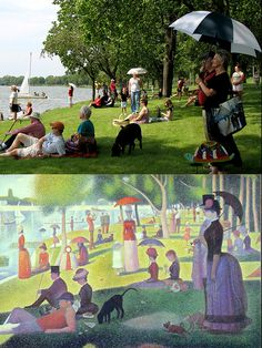 """What an awesome community: On July 1st, the community of Beloit, Wisconsin came together on the banks of the Rock River to recreate George Seurat's """"Sunday Afternoon on the Island of LaGrande Jatte"""" — """"Saturday in the Park with Friends""""."""