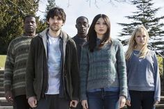 """Humans"" 2015- Fred (Sope Dirisu), Leo (Colin Morgan), Max (Ivanno Jeremiah), Anita (Gemma Chan) and Niska (Emily Berrington)."