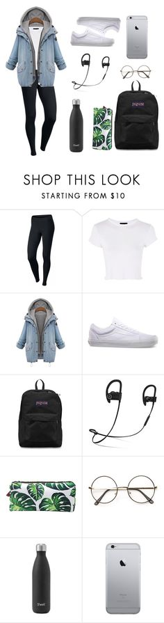School Outfit #5 by marieboss99 on Polyvore featuring Topshop, NIKE, JanSport, Beats by Dr. Dre and Vans