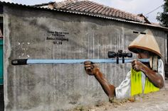 "fight the dirt!"" Street art in Indonesia by artist Jaune. Photo by Jaune."