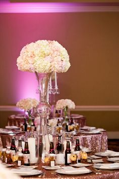 tall hydrangea centerpieces for weddings | tall centerpieces with hydrangea | Jake Holt #wedding | Wedding.