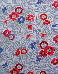 Full large vintage feedsack fabric 1940s blue floral and by oodles, $49.75