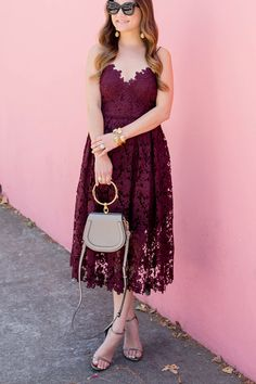 cddbb417fdc6 Burgundy Fit Flare Lace Dress Lace Burgundy Dress, Burgundy And Gold,  Burgundy Dress Outfit