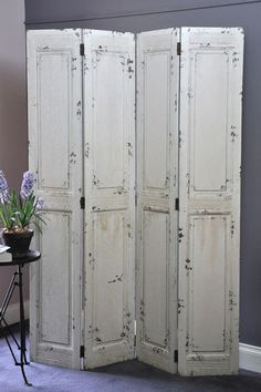 Folding Screen French Provincial Style Solid Timber Shabby Chic OFF White Wooden | eBay #shabbychicdecorfrench