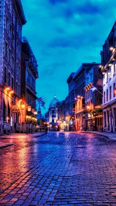 European style cobblestone streets in Old Montreal, Quebec, Canada