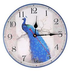 KI Store Silent Wall Clocks Non Ticking Large Round Vintage Rustic Decorative Clock Peacock Blue) The Rustic Clock Classic Home Decor, Classic House, Brown Wall Clocks, Clock Decor, Wall Decor, World Clock, Living Off The Land, Grandfather Clock, Peacock Blue