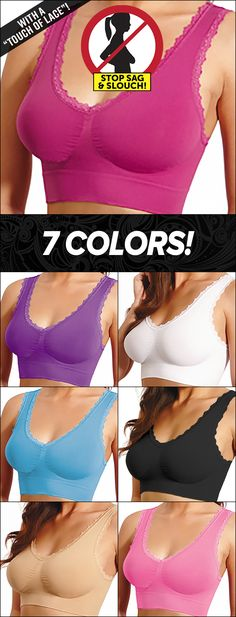Comfort Lace Bra: Elegant lace border, soft & comfortable support, and a super-lift for your bust at such a low price! Available in 7 beautiful colors, and sizes S - 3XL (plus sizes). The soft & stretchy material cradles your bust in pure comfort, and the border of lace gives it that feminine look! Cool Outfits, Fashion Outfits, Womens Fashion, Fashion Ideas, Bra Hacks, Comfortable Bras, Flyer, Bra Lingerie, Vintage Lingerie