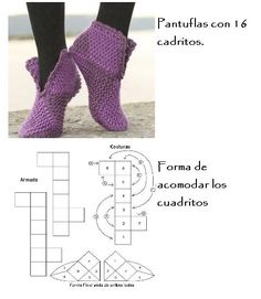 crochet slippers with squares Knitting Projects, Knitting Patterns, Crochet Patterns, Crochet Woman, Love Crochet, Tunisian Crochet, Crochet Yarn, Knifty Knitter, Baby Boots