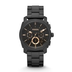 Fossil Machine Mid-Size Chronograph Stainless Steel Watch - Black $155 STYLE: FS4682