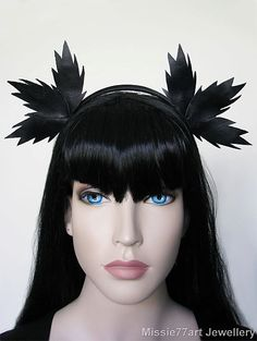 Diana Black Leather Leaf Ear Crown by Missie77artJewellery on Etsy