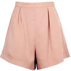 Finders Keepers Aster Blush High-waisted Shorts - Size S (7.495 RUB) ❤ liked on Polyvore featuring shorts, bottoms, short, high waisted short shorts, high-waisted shorts, high rise shorts, highwaist shorts and high waisted pleated shorts