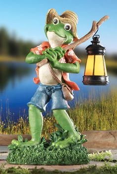 Frog With Lantern Statue Outdoor Figurine