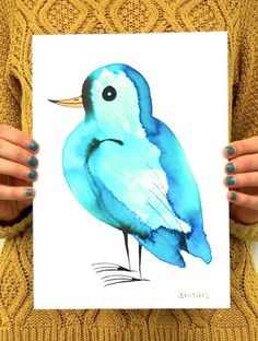 Blue bird art original ink drawing blue turquoise by BIRDADAY
