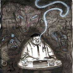 """""""Poema, I"""" De nuevo lo golpeó la realidad, con saña. Quiso aislarse del mundo. Borrarlo. Reconstruirlo. Y escribió el poema.  (Alba Omil) Ilustración de Oxo."""