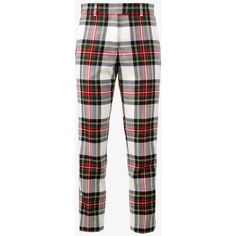 Racil Aries Tartan Slim Fit Trousers ($225) ❤ liked on Polyvore featuring pants, plaid trousers, plaid pants, colorful pants, slim fit trousers and white slim pants