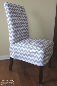 Chevron Parsons Chair Cover, thinking of doing this in my dining room re-do.  Easy and can be changed to match seasons, etc.