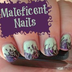 Maleficent Inspired Nail Art; cute for halloween!