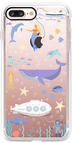 Casetify iPhone 7 Plus Classic Grip Case - Under the sea, mermaid, whale and delphine underwater adventures. by Marta Olga Klara #Casetify