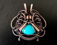 Agate pendant wire wrapped jewelry copper wire by OrioleStudio