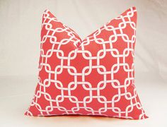 Coral & White Pillow Cover  20 Inch Gotcha Chain by Zeldabelle, $20.00