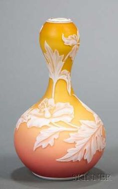109: , Webb Cameo Vase, Art Nouveau heat reactive glass