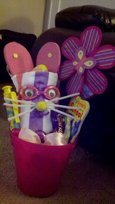 Easter beach towel basket