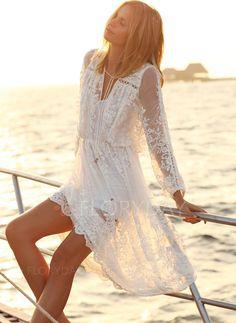 white lace beach dress in boho bohemian hippie gypsy style. Boho Chic, Bohemian Style, Gypsy Style, Bohemian Gypsy, Bohemian Fashion, Hippie Style, Gothic Fashion, Looks Cool, Looks Style