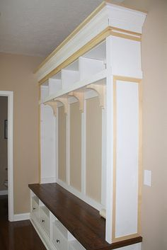 By The Way Jenn Gray: {LINK} Mudroom Storage built in using IKEA furniture.